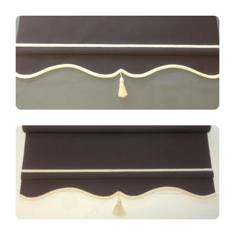 Chocolate brown roller blind with cream braid and tassel - colonial