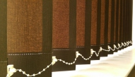Chocolate brown light filtering vertical blinds