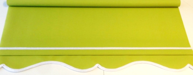 Lime green roller blind - Colonial with White braid