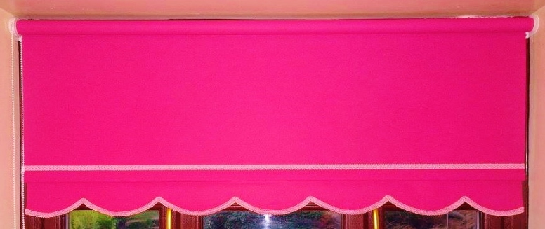 Pink Colonial Roller blind with pink braid