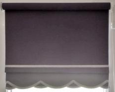 Ritz design roller blind - Splash Rock with grey braid