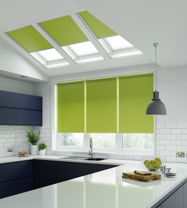 Unilux Lime - blackout green roller blinds